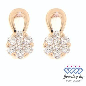 Cluster Diamond Daily Wear Earrings 14K Rose Gold